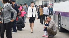 People were seen outside a main bus station in Pyongyang.