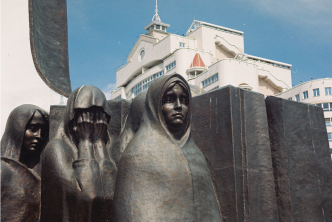 A close up of the Sons of Our Fatherland Monument shows the grief of mothers who lost their sons during the Soviet invasion in Afghanistan. These mothers are emblematic of the dissatisfaction which many Belarusian people felt with the Soviet War in Afghanistan.